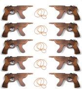 Elastiek Pistool Shot-Gun van hout (10 stuks)