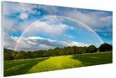 Spectaculaire dubbele regenboog Glas 60x40 cm - Foto print op Glas (Plexiglas wanddecoratie)