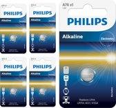 5 Stuks - Philips LR44/76A 1.5v Alkaline knoopcel batterij