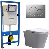 Geberit UP 320 Toiletset - Inbouw WC Hangtoilet Wandcloset - Saturna Sigma-01 Mat Chroom