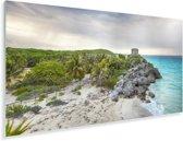 De oude havenstad stad Tulum gelegen aan de Caribische Zee Plexiglas 40x20 cm - Foto print op Glas (Plexiglas wanddecoratie)