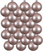 24x Lichtroze glazen kerstballen 8 cm - Mat/matte - Kerstboomversiering lichtroze