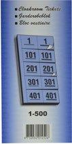19x Garderobeblokken nummers van 1 t.e.m. 500, geel