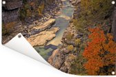Luchtfoto van een rivier en rotsen in het Nationaal park Abisko Tuinposter 180x120 cm - Tuindoek / Buitencanvas / Schilderijen voor buiten (tuin decoratie) XXL / Groot formaat!