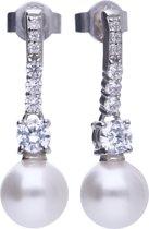 Diamonfire - Zilveren oorhangers Pearls - Zirkonia - Parel