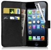 Luxe Flip Wallet hoesje voor iPhone 5 5s SE - Zwart