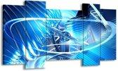 Canvas schilderij Abstract | Blauw, Wit, Grijs | 120x65 5Luik