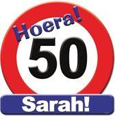 Huldeschild hoera 50 Sarah 50x50cm