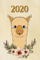 2020: Lama fleurs - Agenda - Planificateur Hebdomadaire et Mensuel - Agenda semainier 2020 - Calendrier des semaines 2020 -