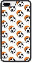 iPhone 8 Plus Hardcase hoesje Soccer Ball Orange Shadow