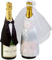 Champagne fles bruiloft kleding
