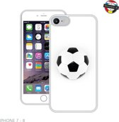 Voetbal | Handmade in Benelux |  iPhone 7, 8 | Wit | Full Cover TPU Hoesje