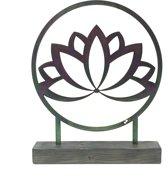 Staande decoratie - Lotus - 2 mm gecoat staal in houten sokkel