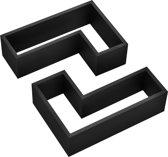 [en.casa]®Design Wandplank - Wandkast tweedelige set - zwart