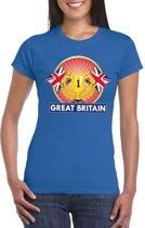 Blauw Groot Brittannie/ Engeland supporter kampioen shirt dames XS