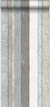 ESTAhome behang houten plankjes grijs en lichtblauw - 138250