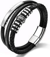 Gevlochten Lederen Armband - Magnetische Zilverkleurige Sluiting - Zilverkleurige Decoratie - Topkwaliteit - Geschikt voor pols van: