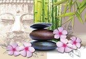 Fotobehang Flowers With Zen Stones | XL - 208cm x 146cm | 130g/m2 Vlies