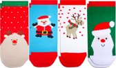 Kerst kinder sokken - set van 4 paar kinder kerstsokken - voor kinderen van 1 tot 6 jaar
