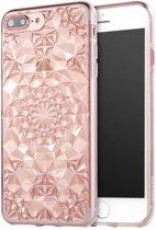 iPhone 7 Plus / iPhone 8 Plus (5.5 Inch) - hoes, cover, case - TPU - Diamanten patroon - Roze