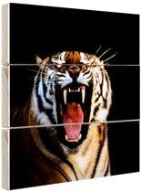 Brullende tijger zwarte achtergrond Hout 20x20 cm - klein - Foto print op Hout (Wanddecoratie)