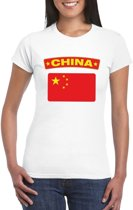 T-shirt met Chinese vlag wit dames L