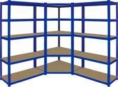 Monster Racking T-Rax Corner Shelving Unit & 2 x 90cm Garage Storage Bays, Blue