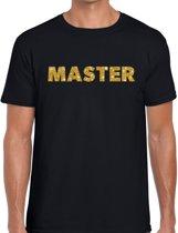 Master goud glitter tekst t-shirt zwart voor heren - heren verkleed shirts XL