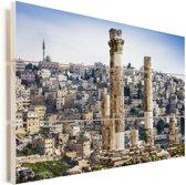 Kolommen van de oude Tempel van Hercules in Amman Vurenhout met planken 90x60 cm - Foto print op Hout (Wanddecoratie)