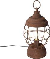 QAZQA Lentera - Tafellamp - 1 lichts - H 430 mm - Roestbruin
