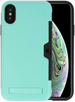 Turquoise Tough Armor Kaarthouder Stand Hoesje voor iPhone X / XS