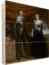 Dubbelportret van Frederik Hendrik en Amalia van Solms-Braunfels - Schilderij van Gerrit van Homthorst Vurenhout met planken 20x20 cm - klein - Foto print op Hout (Wanddecoratie)