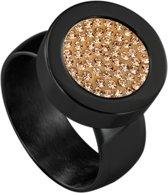Quiges RVS Schroefsysteem Ring Zwart Glans 19mm met Verwisselbare Zirkonia Goudkleurig 12mm Mini Munt