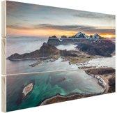 Fjorden bij zonsopkomst in Noorwegen Hout 30x20 cm - Foto print op Hout (Wanddecoratie)