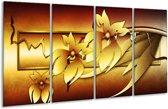 Glasschilderij Bloem   Geel, Bruin, Wit   160x80cm 4Luik   Foto print op Glas    F004132