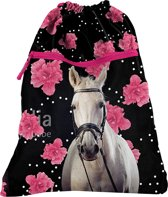 Animal Pictures Paard Flowers - Gymbag - 45 x 34 cm - Zwart, Roze