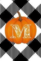 M: Cute Pumpkin Monogram Initial Letter M White Buffalo Plaid Check Personalized Gratitude Journal for Women and Girls