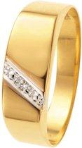 Lucardi 14 Karaat Geelgouden Zegelring - Met Diamant - Maat 60