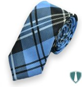 Skinny stropdas blauw geruit