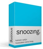 Snoozing - Katoen-satijn - Hoeslaken - Lits-jumeaux - Extra Hoog - 160x220 cm - Turquoise