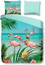Pure Flamingo - Dekbedovertrek - Eenpersoons - 140x200/220 cm + 1 kussensloop 60x70 cm - Multi