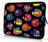 Sleevy 10 laptop/tablet hoes gekleurde visjes - tabletsleeve - tablet sleeve - ipad sleeve