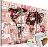 Afbeelding op kurk - Banksy Graffiti Collage, wereldkaart, Roze, 3 Maten, 3luik