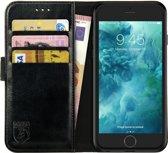 Rosso Element Apple iPhone 6 / 6S Hoesje Book Cover Zwart | Ruimte voor drie pasjes | Opbergvakje voor briefgeld | Handige stand functie | Magneetsluiting