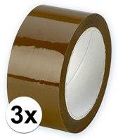3x Verpakkingstape bruin