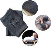 Donkergrijze kniebeschermer baby – bescherming  knieën en kleding van baby en peuter – unisex - 1 paar baby kneepads / kniebeschermers – kniepads baby