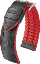 Hirsch horlogeband Andy L bandbreedte 22mm Zwart met rood accent