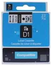 Dymo D1 45013 compatible tape 12mm. zwart op wit PrintVoordeelshop huismerk