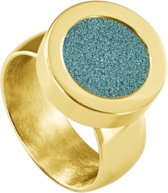 Quiges RVS Schroefsysteem Ring Goudkleurig Glans 20mm met Verwisselbare Glitter Turkoois 12mm Mini Munt