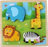 Toi-toys Houten Vormenpuzzel Dierentuin 22 Cm 5 Stuks